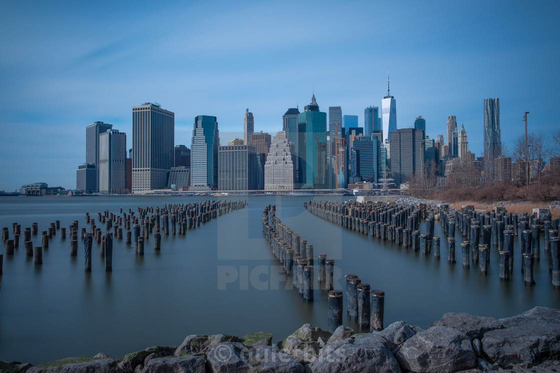 """View of Lower Manhattan skyline"" stock image"