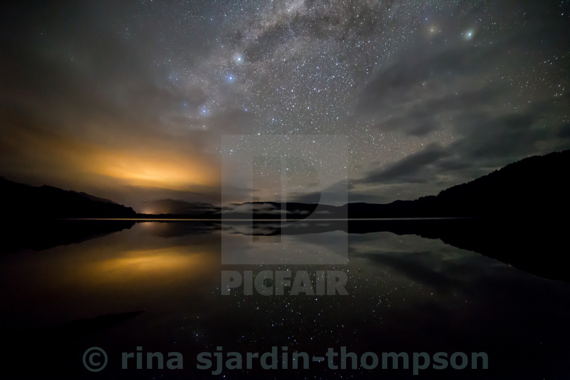 """milky way over mapourika"" stock image"