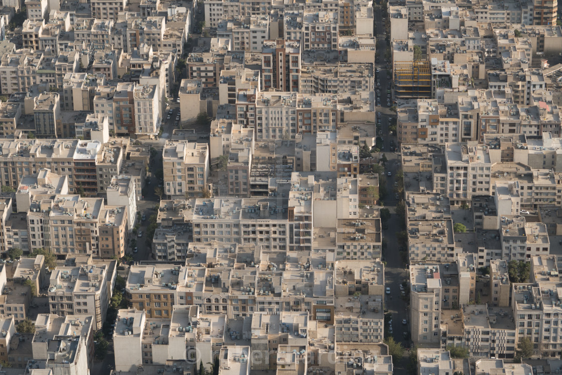 """Aerial view of apartment and office buildings, Central Tehran, Iran"" stock image"