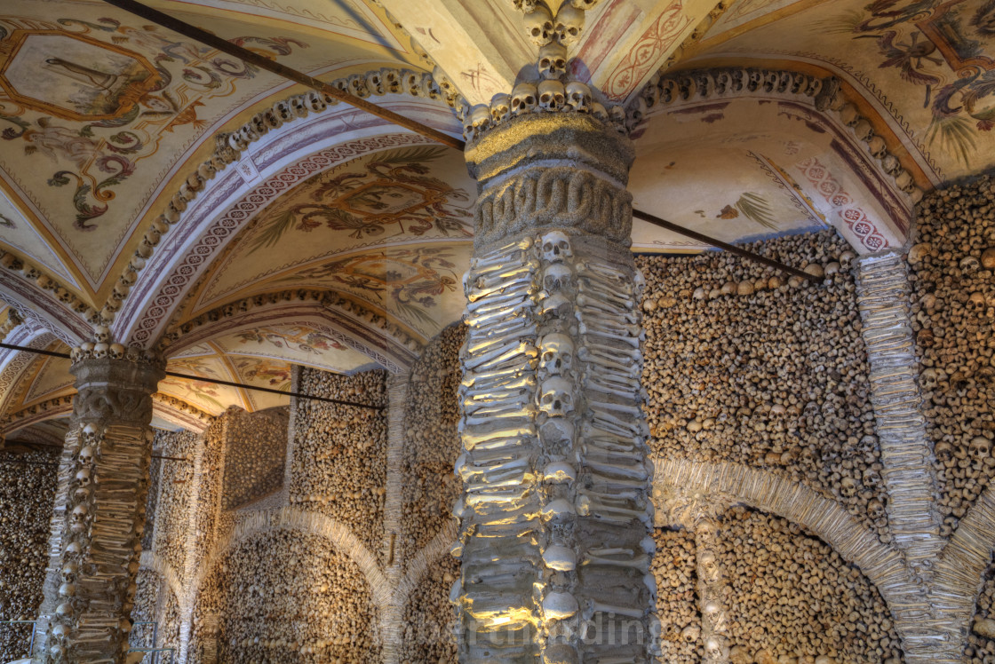 """Chapel of Bones, Royal Church of St Francis, Evora, UNESCO World Heritage..."" stock image"