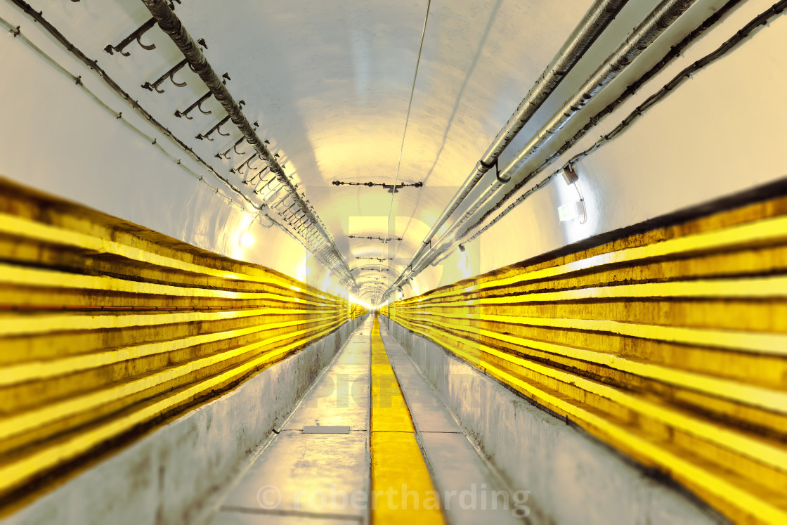 """Seemingly never ending main tunnel at Schoenenbourg Fortress, Bas-Rhin..."" stock image"
