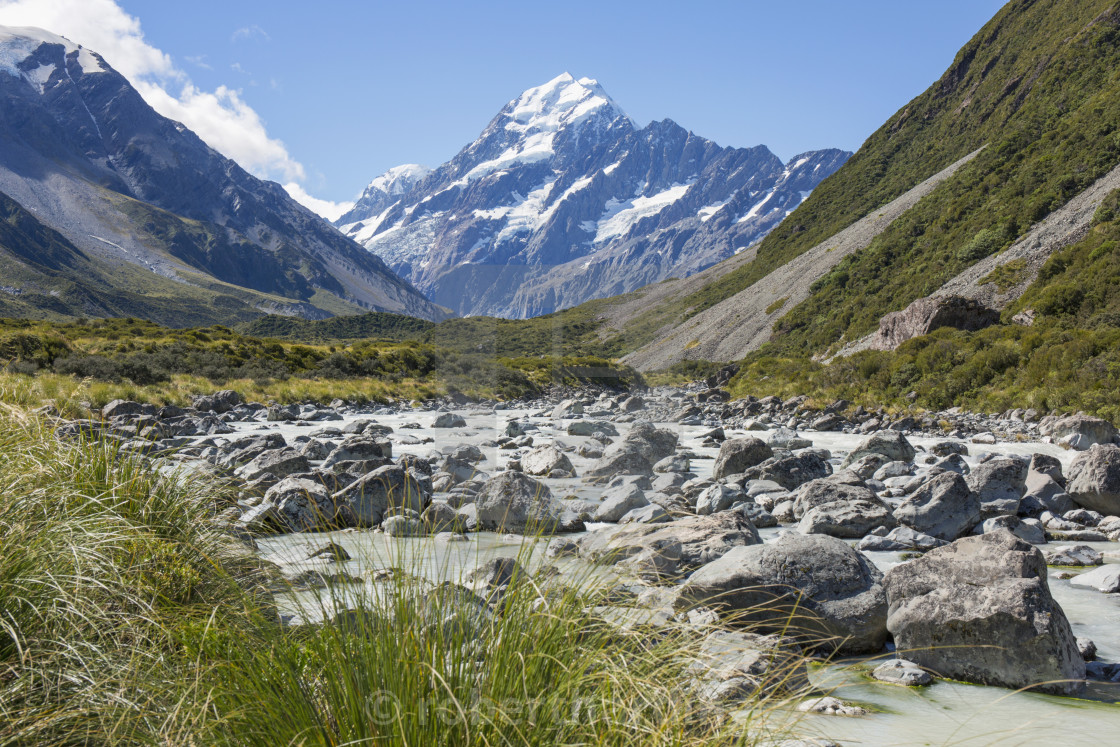 """View up the Hooker Valley to Aoraki (Mount Cook), Aoraki (Mount Cook)..."" stock image"