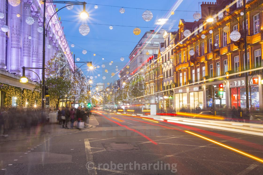 Selfridges on Oxford Street at Christmas, London, England