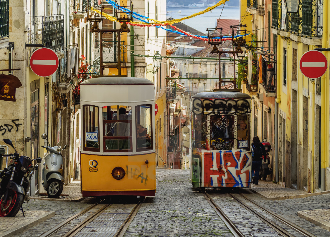 """View of the Bica Funicular, Lisbon, Portugal, Europe"" stock image"