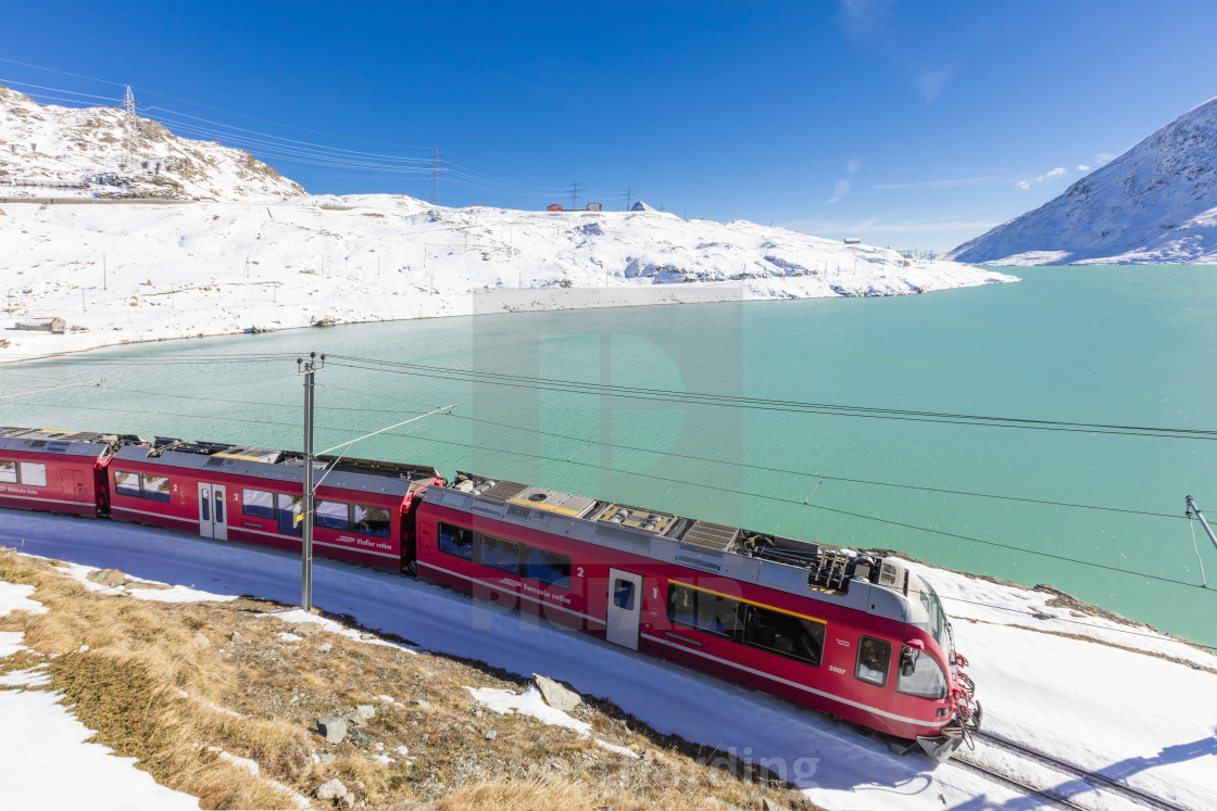 """Bernina Express train in the snowy valley surrounded by Lake Bianco Bernina..."" stock image"