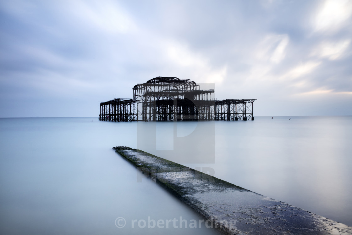 """Long exposure image of Brighton's derelict West Pier, Brighton, East..."" stock image"