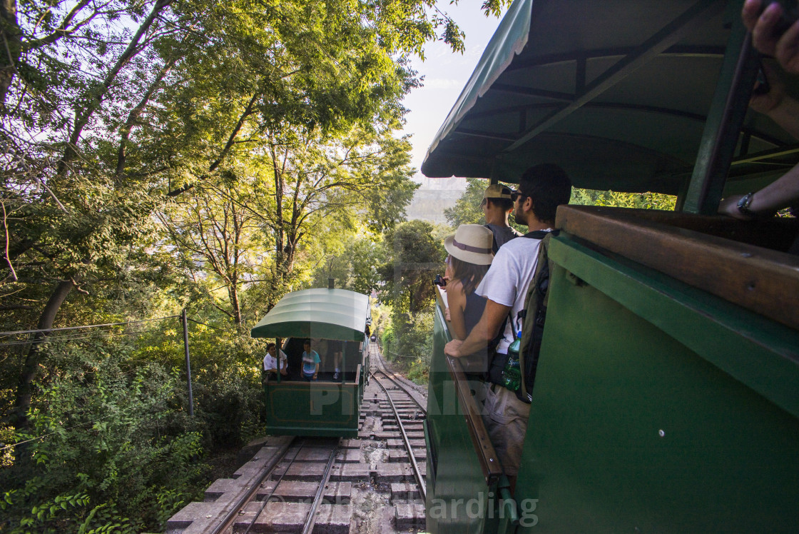 """Funicular at San Cristobal Hill (Cerro San Cristobal), Barrio Bellavista..."" stock image"