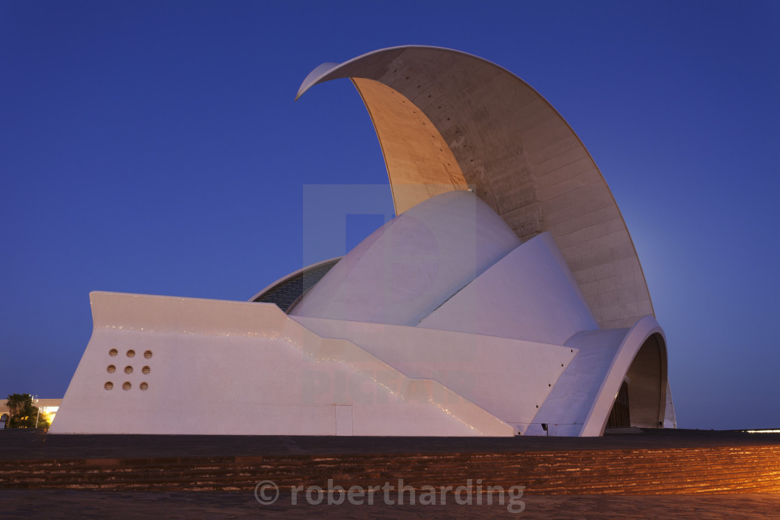 """Auditorium by Santiago Calatrava, Santa Cruz, Tenerife, Canary Islands, Spain"" stock image"