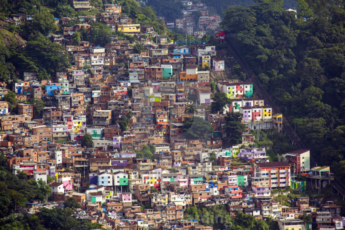 """View of the Santa Marta favela/slum community showing the funicular railway...."" stock image"