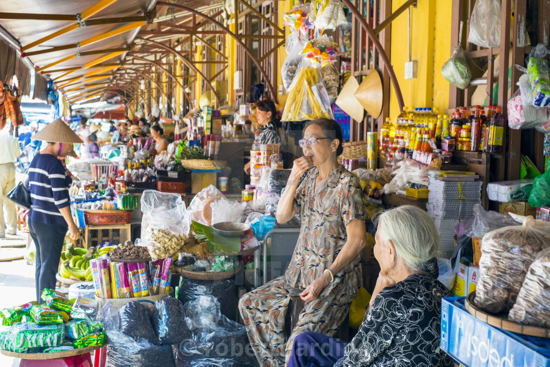 """""""Women selling food items at the central market in Hoi An, Quang Nam Province,..."""" stock image"""