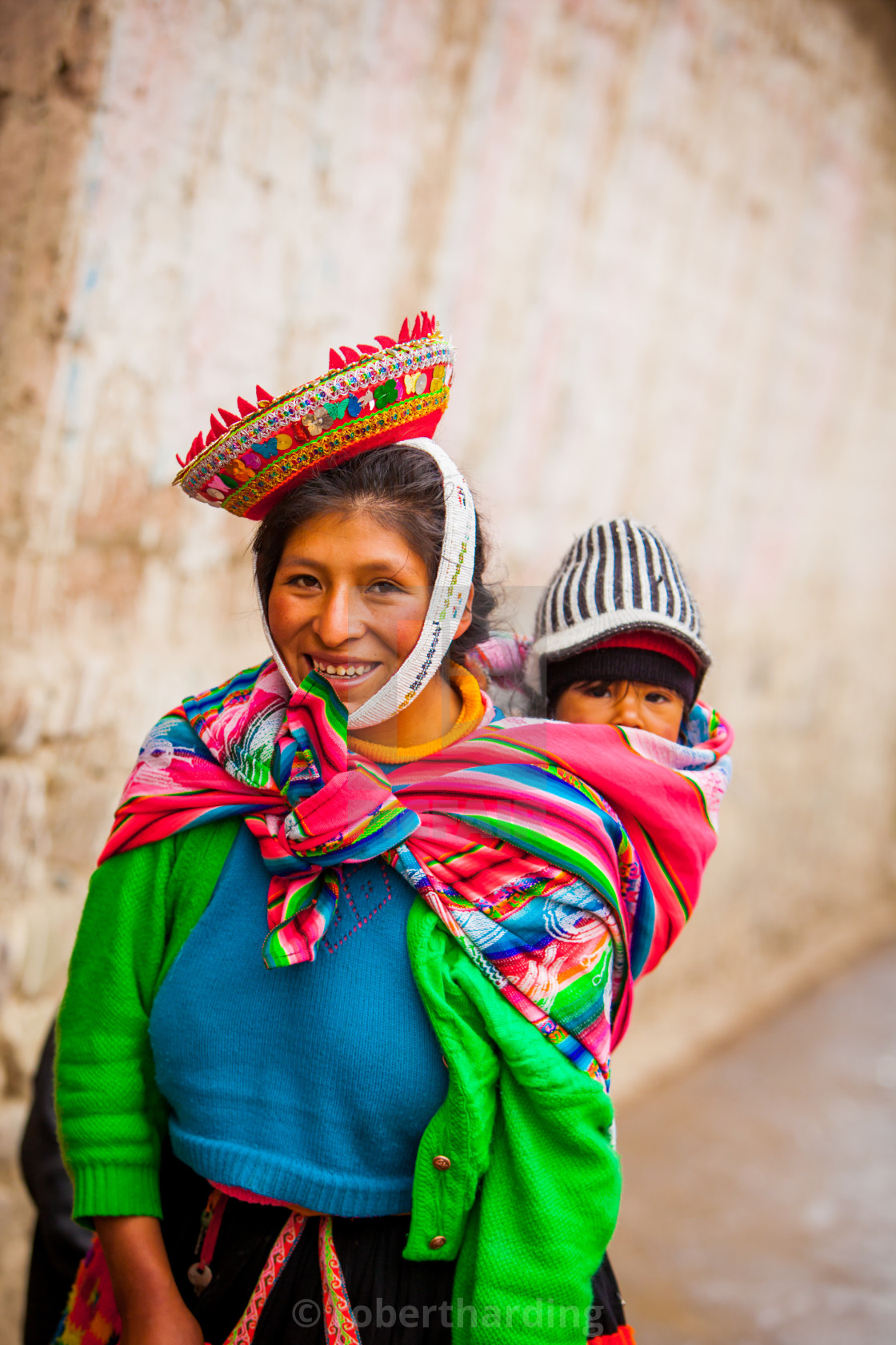 """Traditional Peruvian Incan Woman and her child, Ollantaytambo, Peru"" stock image"