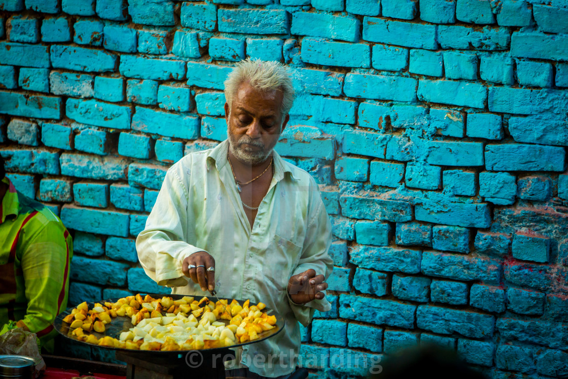 """Street Vendor in Jodhpur, the Blue City, Rajasthan, India"" stock image"