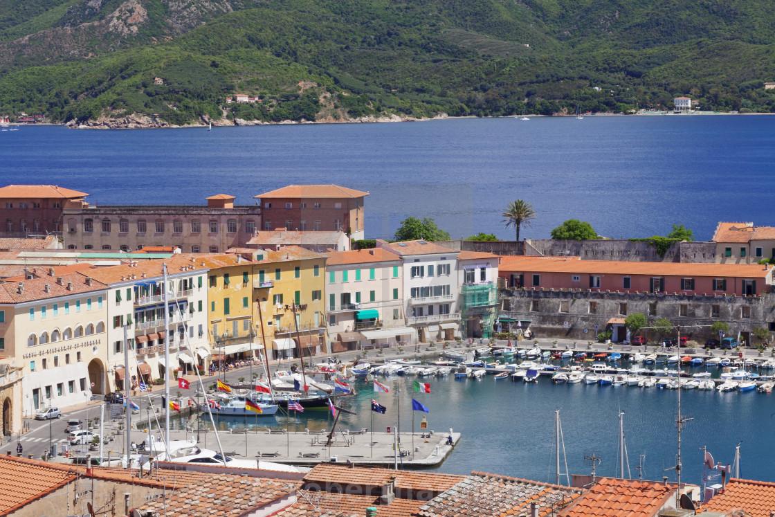 """Old town and harbour, Portoferraio, Elba Island, Livorno Province, Tuscany,..."" stock image"