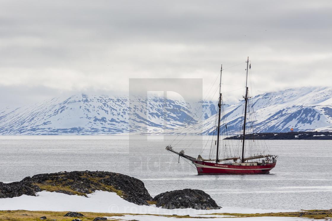 """The exploration ship Northern Lights at anchor in Varsolbukta, Bellsund,..."" stock image"