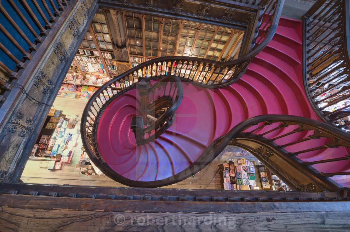"""Lello and Irmao bookshop, Spiral stairs, Oporto, Portugal, Europe"" stock image"