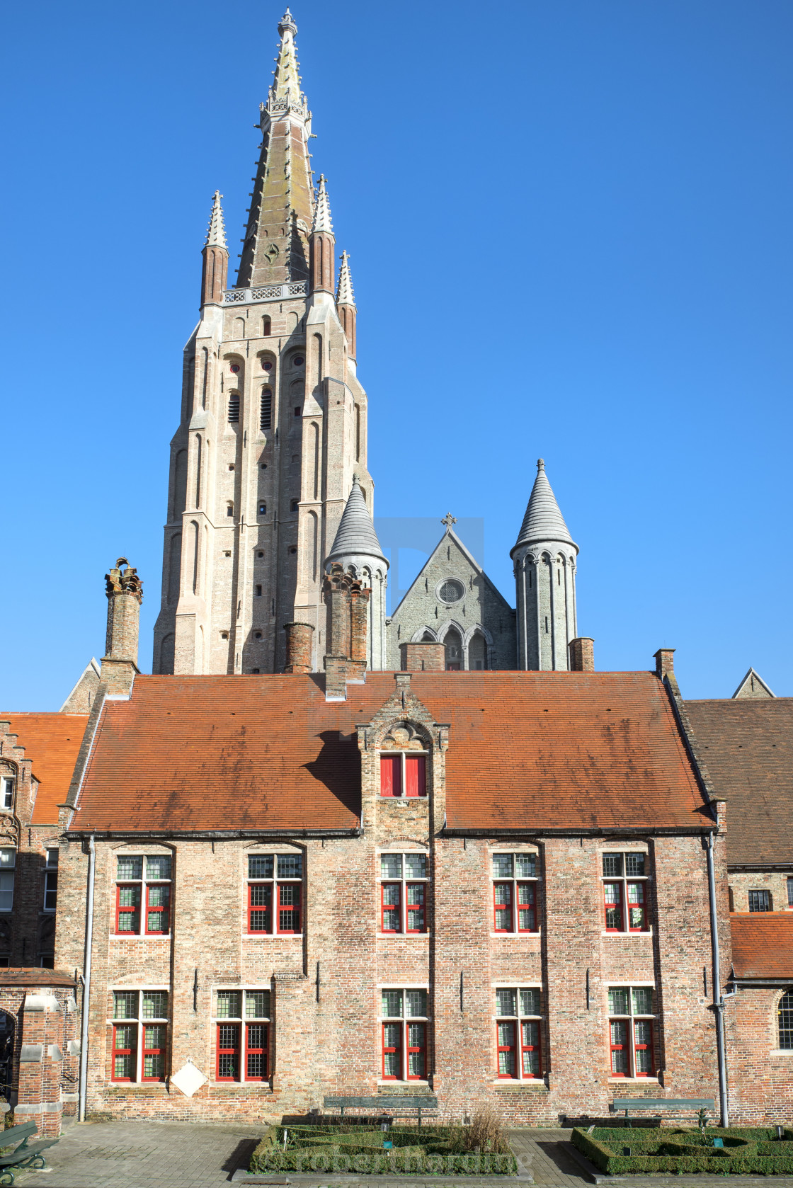 """Church of Our Lady and Old Saint John Hospital, Historic center of Bruges,..."" stock image"