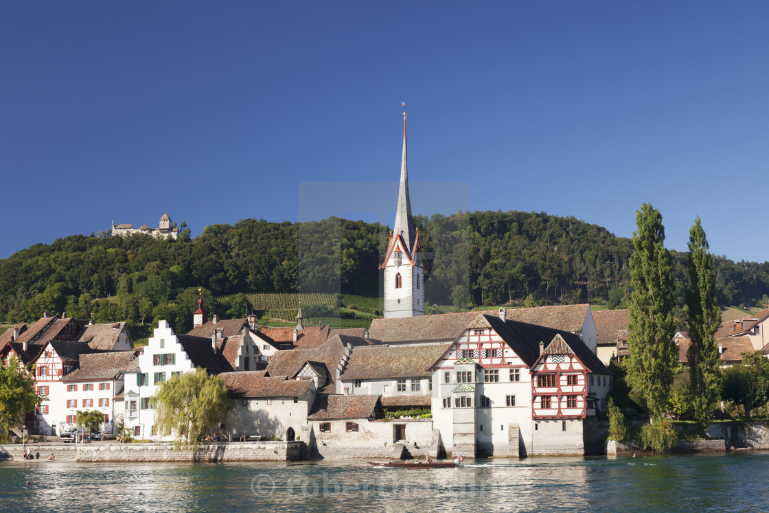 """""""Old town along the Rhine promenade with Burg Hohenklingen castle, Stein am..."""" stock image"""