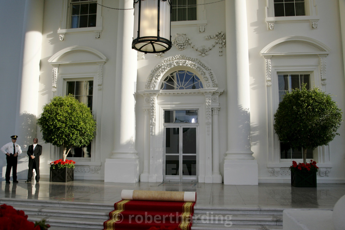 """The White House expecting VIP guest, Washington DC, United States of America"" stock image"