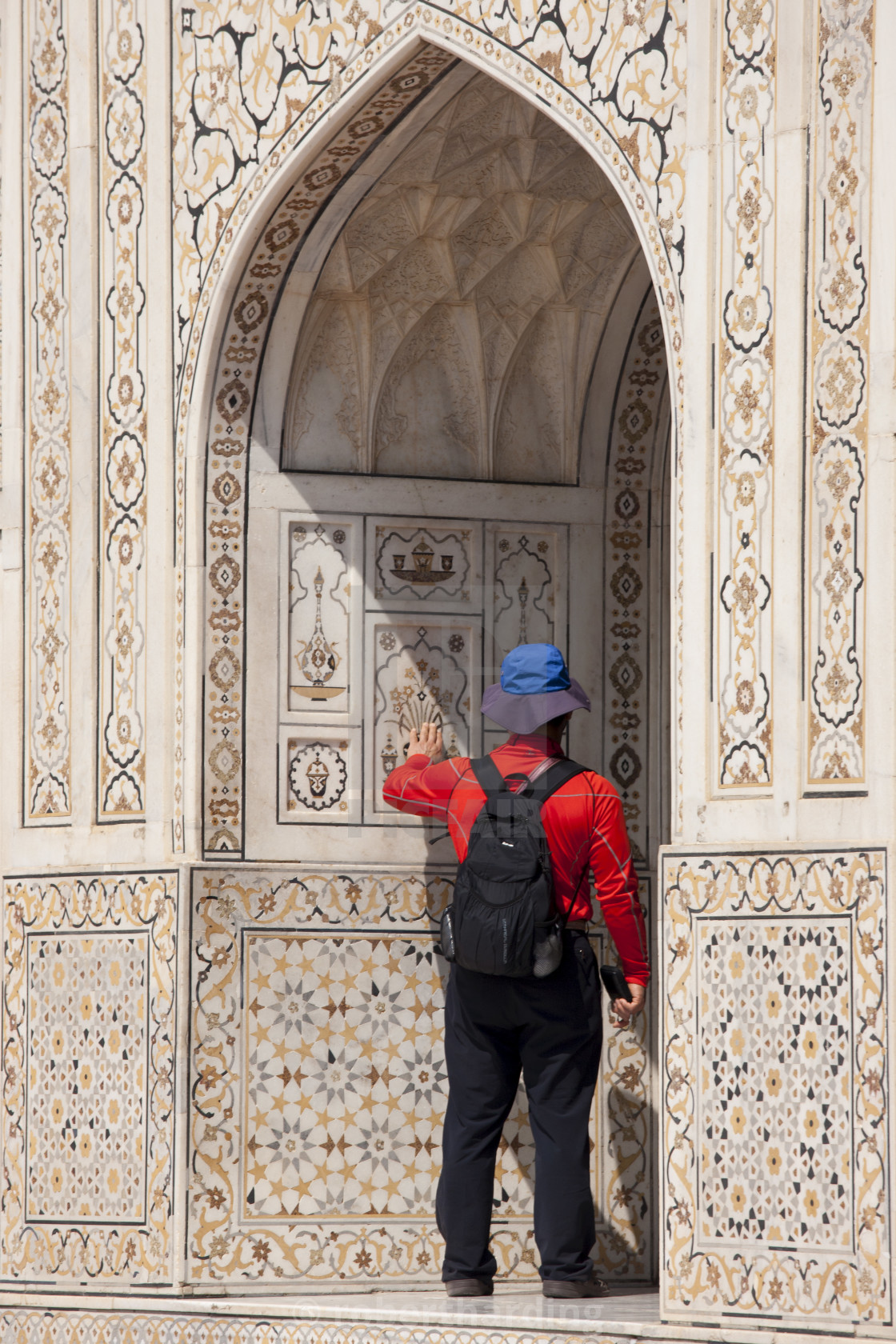 """""""Tourist at Tomb of Etimad Ud Doulah, 17th Century Mughal tomb built 1628,..."""" stock image"""
