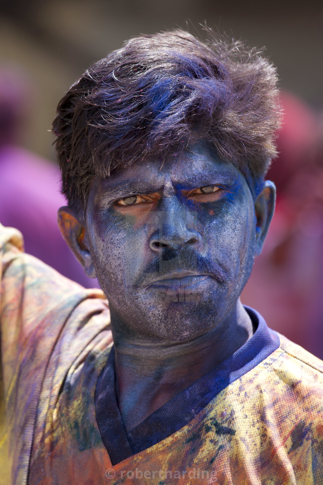 """Indian man celebrating annual Hindu Holi festival of colours smeared with..."" stock image"