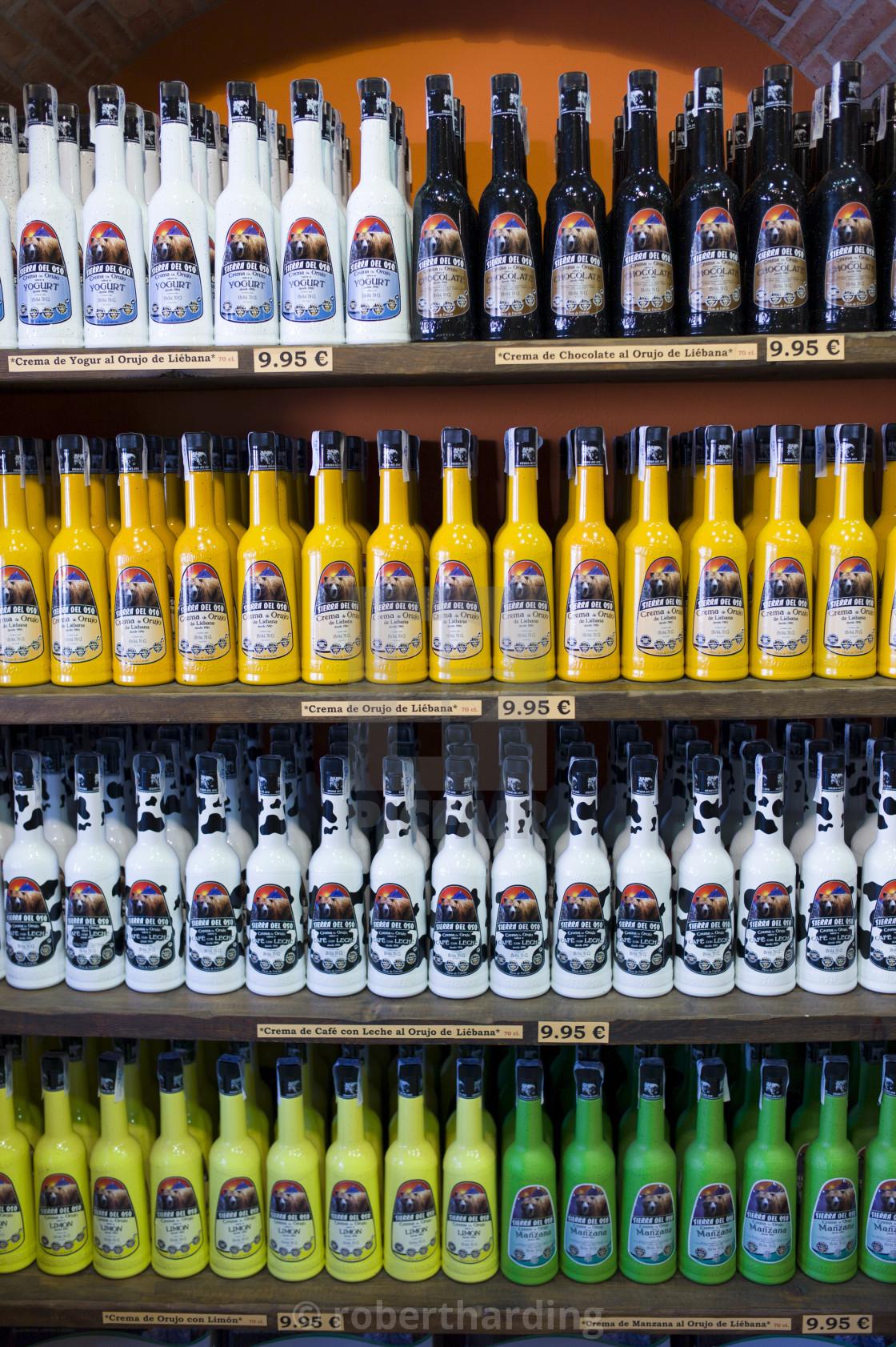 """Crema de Orujo de Liebana from Sierra Del Oso local speciality flavoured..."" stock image"