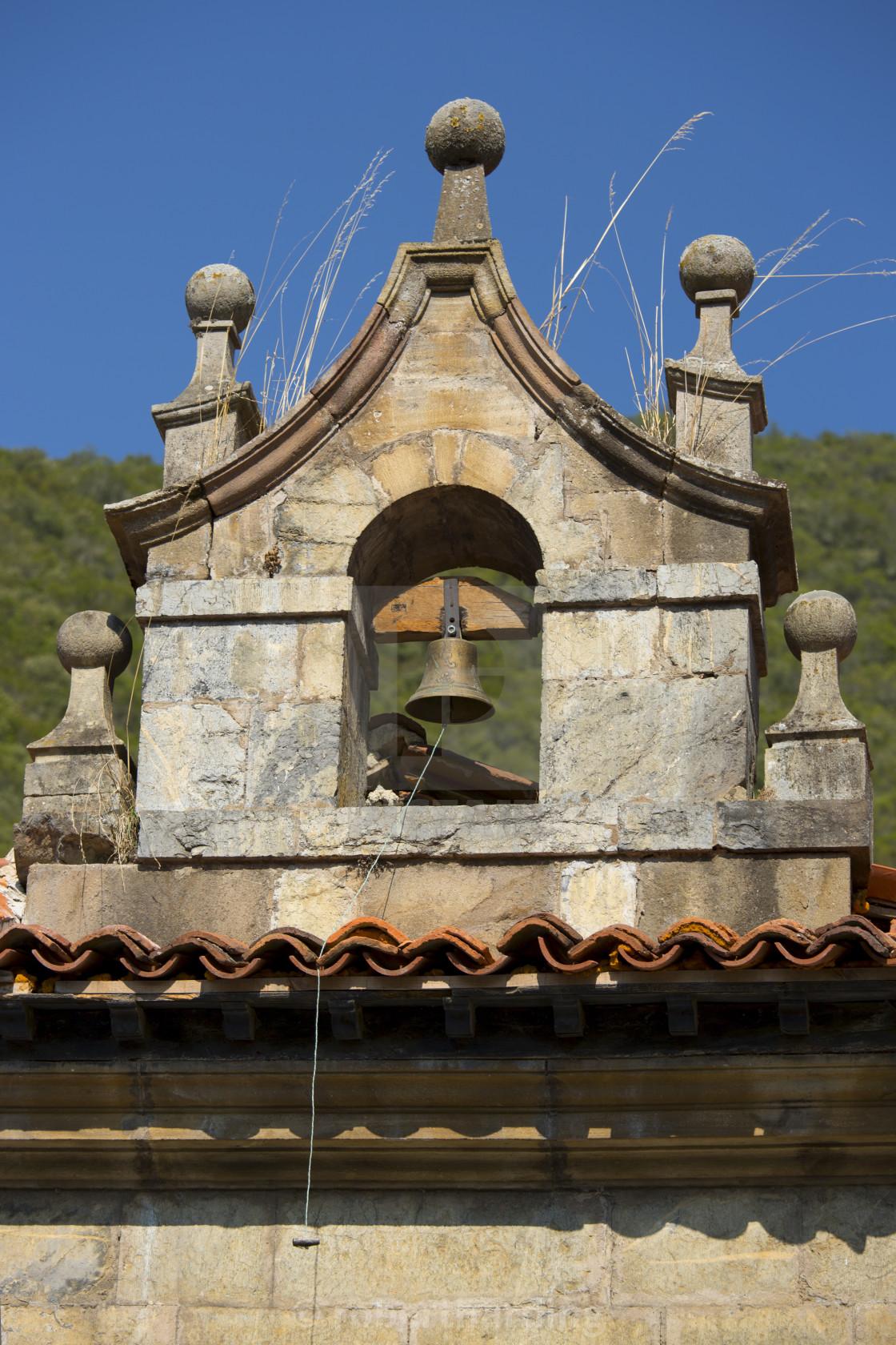 """Bell tower at Cabazon de Liebana within the Picos de Europa mountains in..."" stock image"