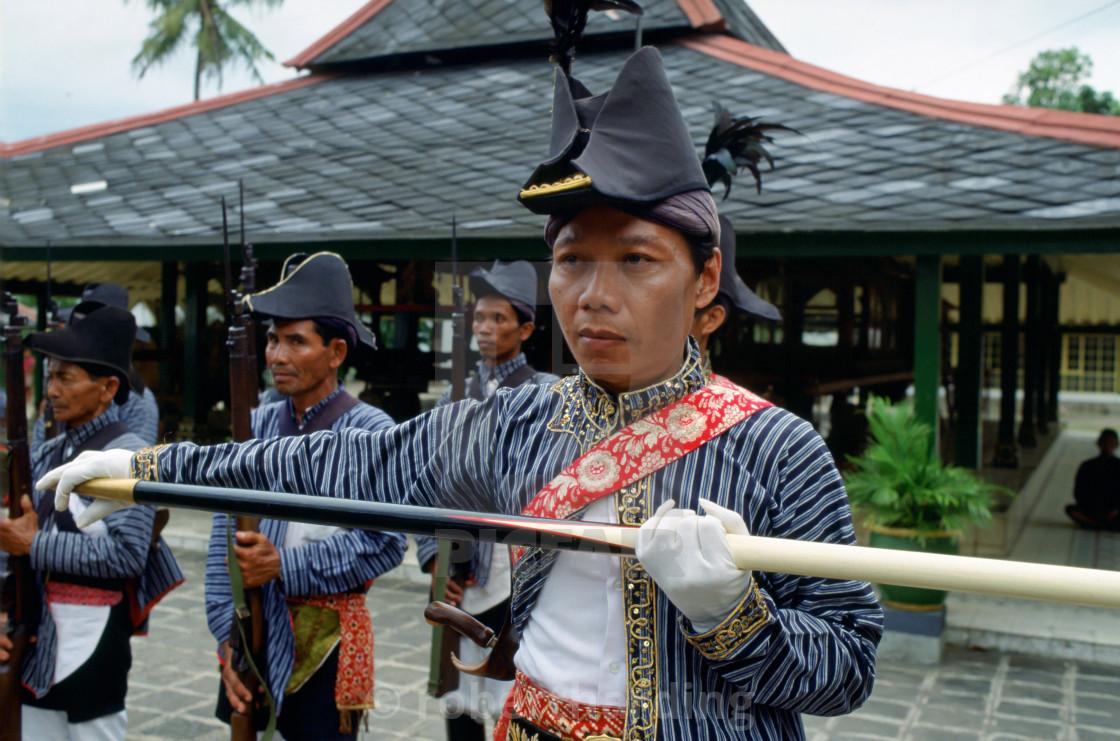 """Ceremonial guards at Sultan's Palace at Yogyakarta, Indonesia"" stock image"