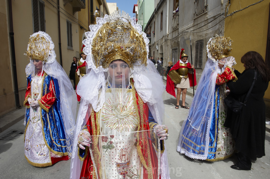 """La Veronica, Procession of the Mysteries (Processione dei Misteri viventi),..."" stock image"