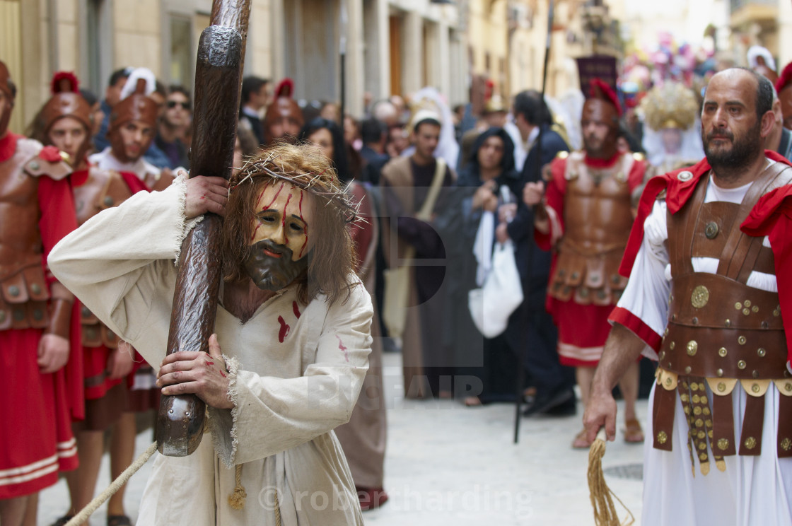 """Procession of the Mysteries (Processione dei Misteri viventi), Holy Thursday,..."" stock image"