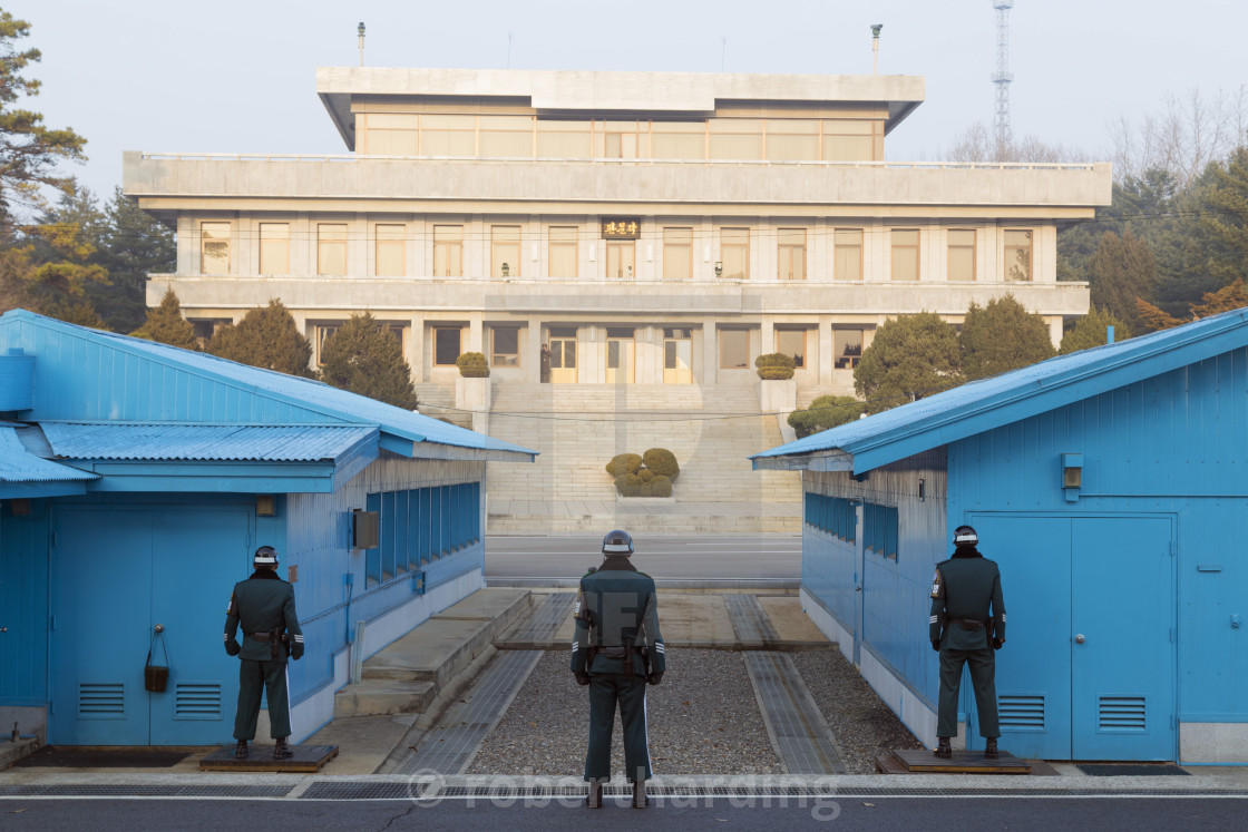 """Border guards at the conference room, DMZ (Demilitarized Zone) on the border..."" stock image"