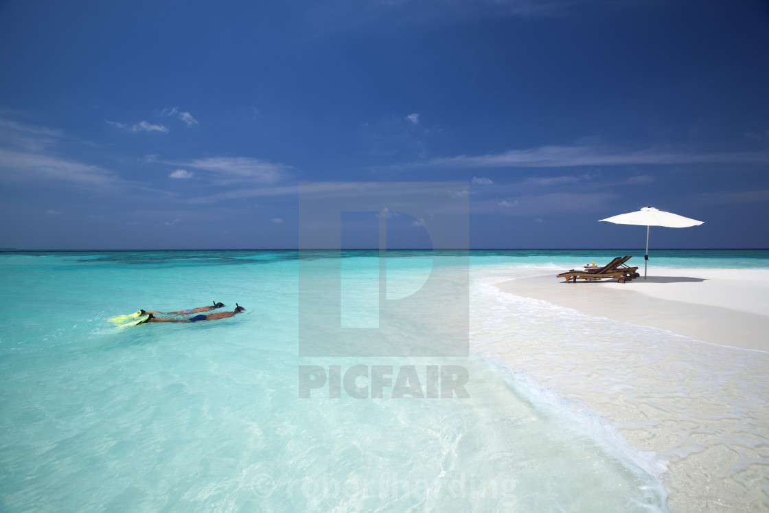 """couple snorkelling in maldives"" stock image"