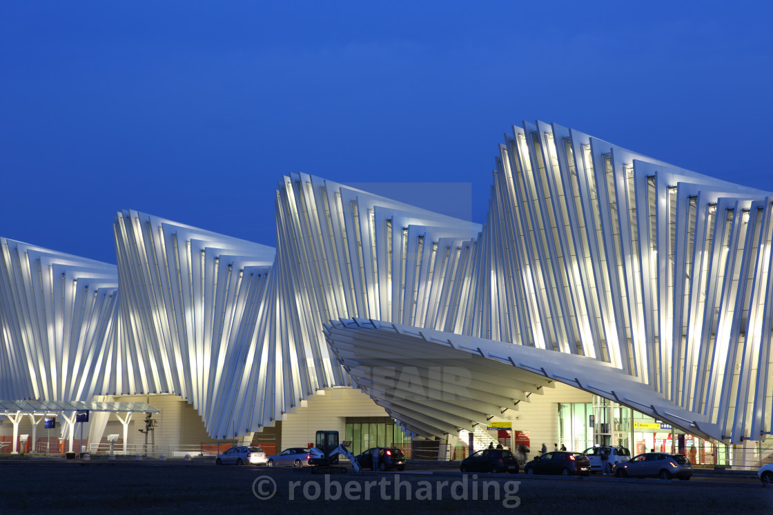 """Train Station, designed by Santiago Calatrava, Reggio Emilia, Emilia Romagna,..."" stock image"