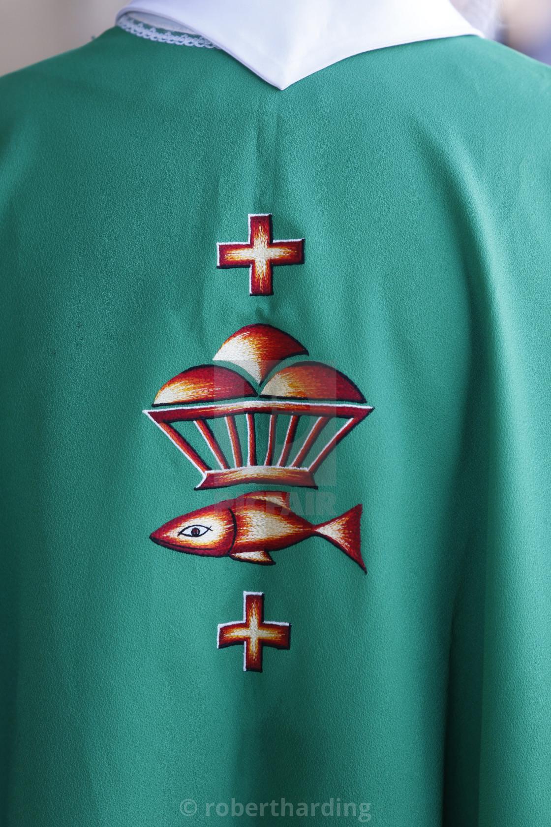 """Catholic priest's chasuble embroidery, Rancourt, Somme, France, Europe"" stock image"