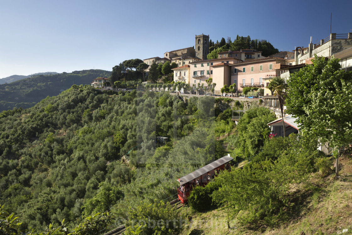 """Funicular below hill top town, Montecatini Alto, Tuscany, Italy, Europe"" stock image"