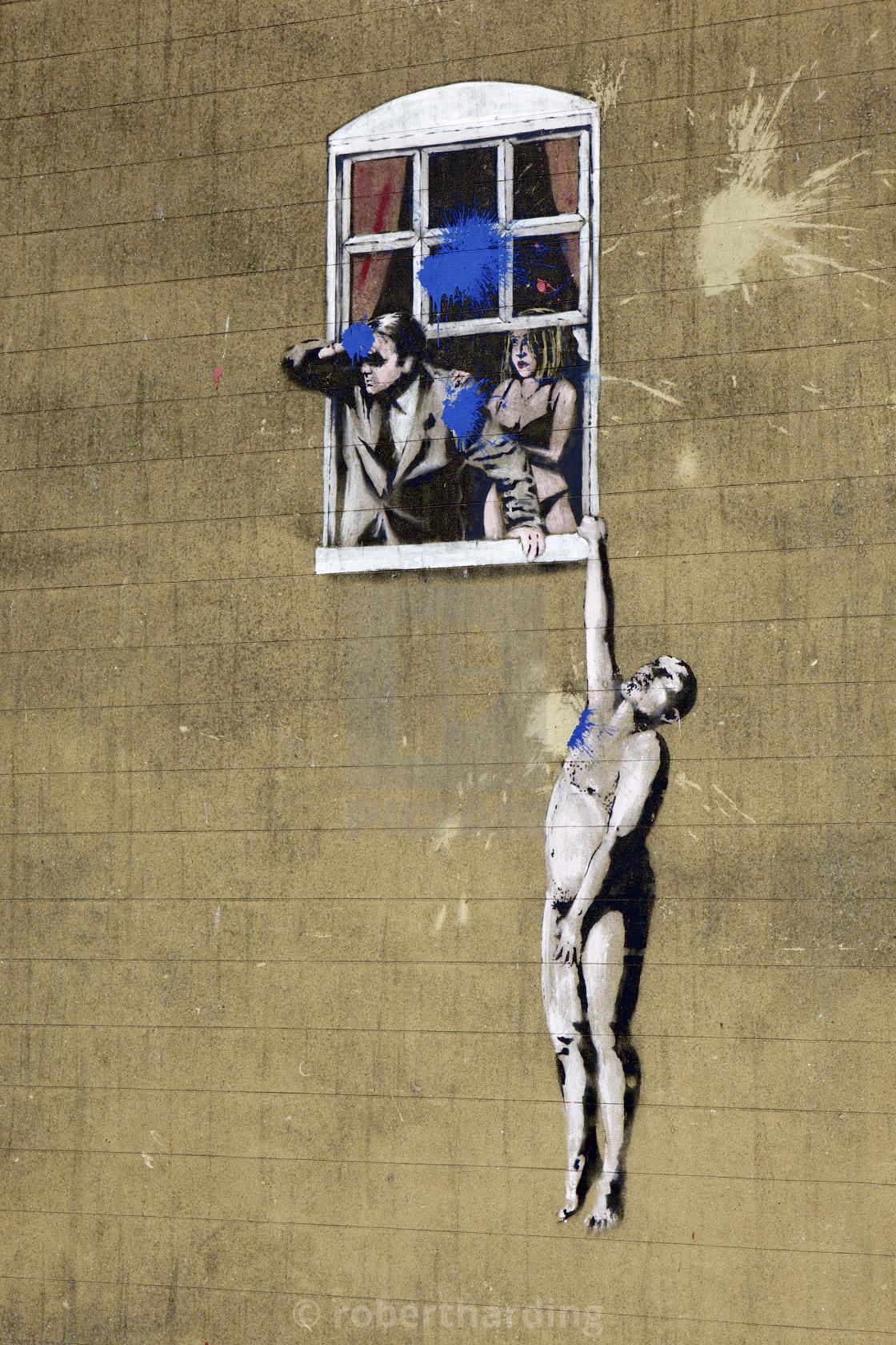 Adultery street art by the graffiti artist Banksy on Park ...