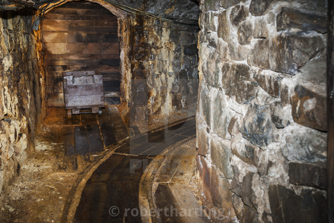 """Narrow tunnels and wooden tracks inside the pit mine in use from 1156 until..."" stock image"