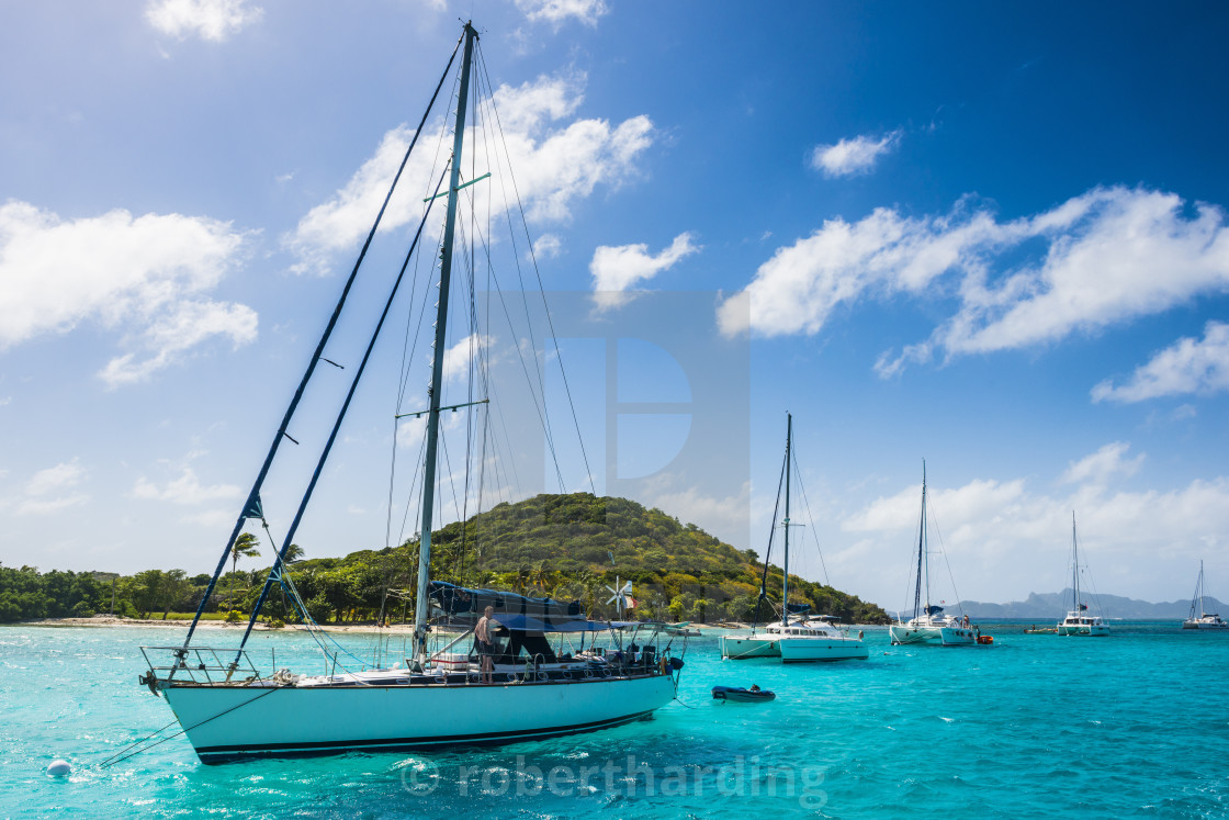 """""""Sailing boats anchoring in the Tobago Cays, The Grenadines, St. Vincent and..."""" stock image"""