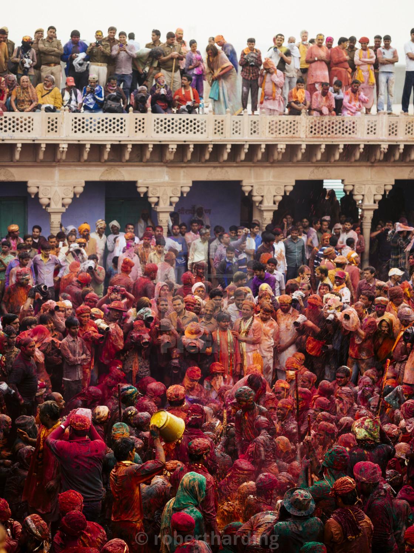"""Lathmar Holi celebrations in Nand Rae Temple, Nandagaon, Braj, Uttar Pradesh,..."" stock image"