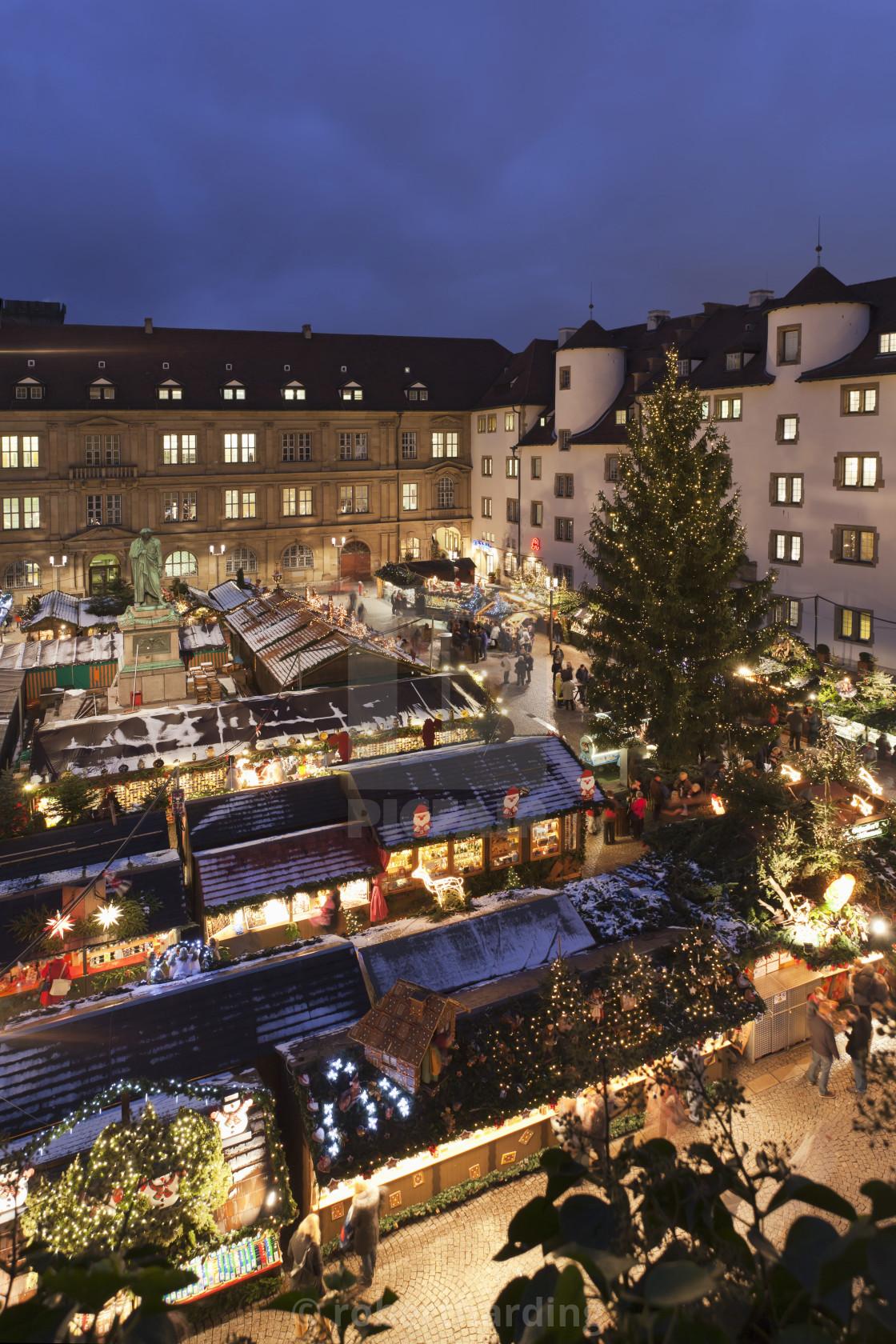 Christmas In Stuttgart Germany.Christmas Fair On Schillerplatz Square Stuttgart Baden