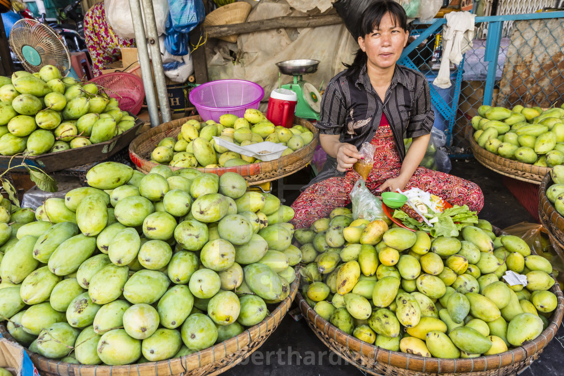 """Fresh produce for sale at market at Chau Doc, Mekong River Delta, Vietnam,..."" stock image"
