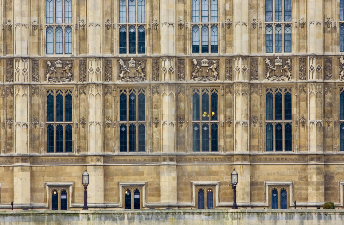 """""""Windows of Houses of Parliament, Palace of Westminster, United Kingdom"""" stock image"""