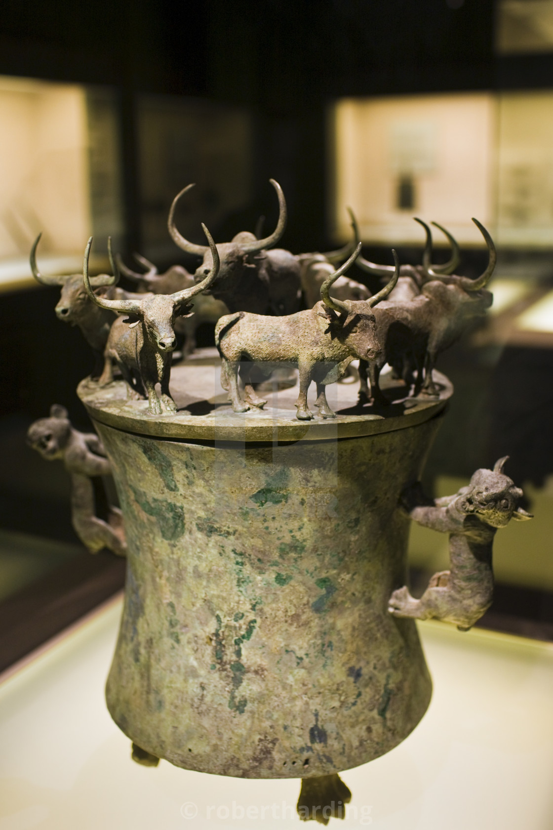 """Bronze Han Dynasty cowrie container with yaks and lion decorations, on..."" stock image"