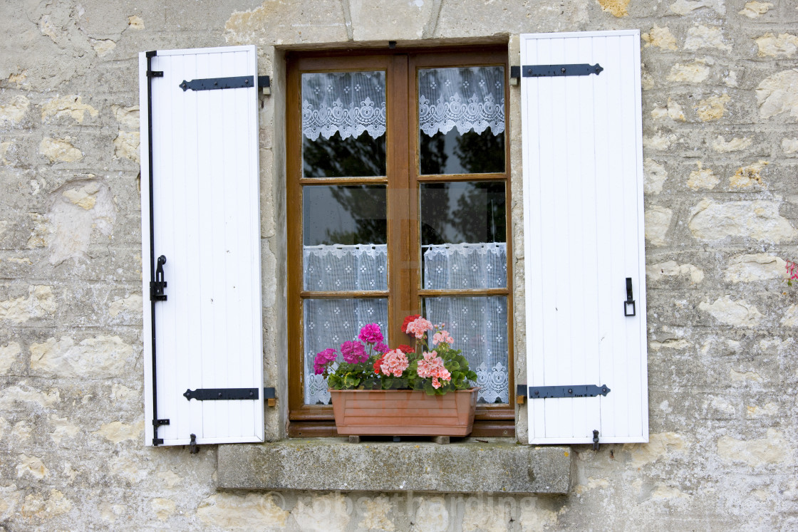 Typical French Window With Lace Curtain And Pelmet Window