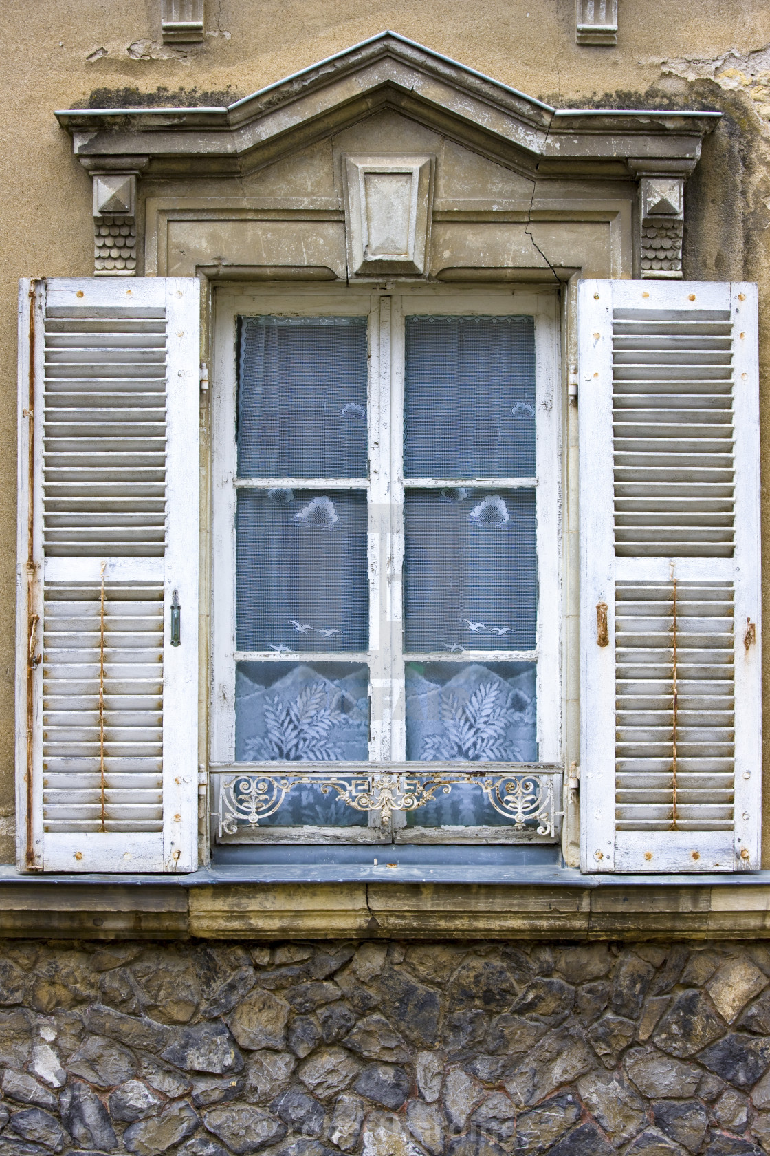 Traditional French Window With Shutters In Precigne Pays De
