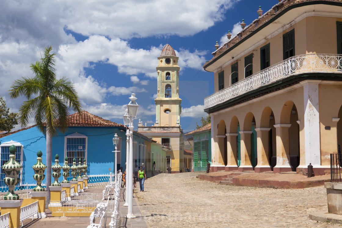 Museo Romantico.View Across Plaza Mayor Towards Museo Romantico And The Belltower Of