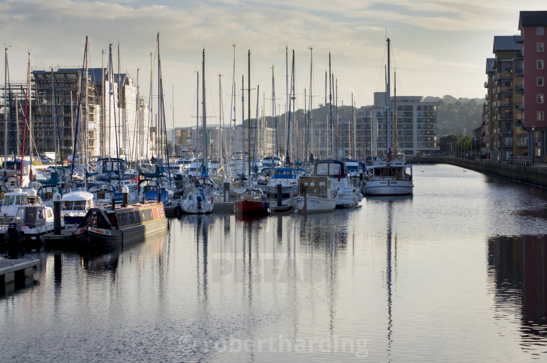 """""""Boats are moored in the newly completed marina in Portishead."""" stock image"""
