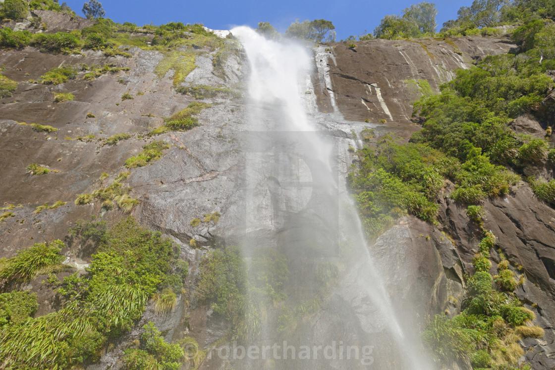 Waterfall Milford Sound Fiordland National Park Unesco