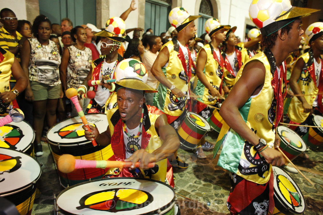 """Drum band Olodum performing in Pelourinho during carnival, Bahia, Brazil,..."" stock image"