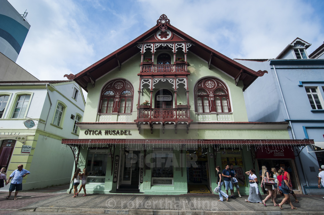 Colonial Architecture In The German Town Of Blumenau Brazil South
