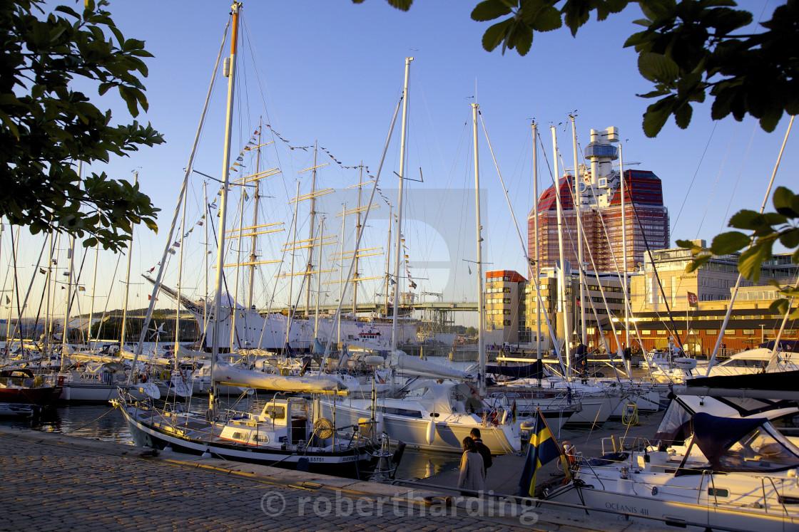 """""""Yachts moored near the Uitken Lookout, Gothenburg, Sweden, Scandinavia, Europe"""" stock image"""